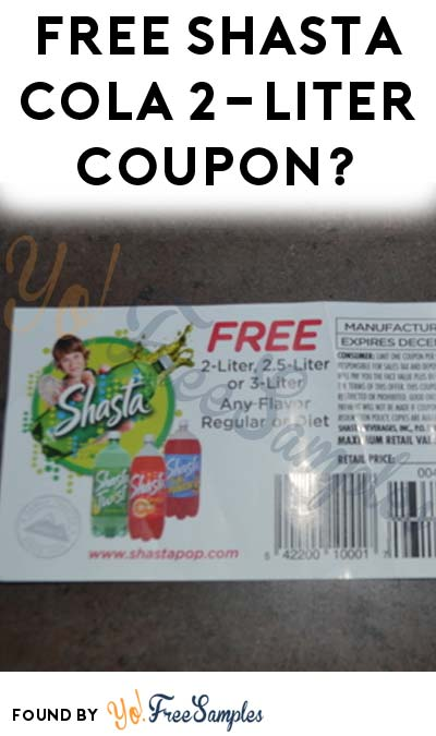 Possible FREE 2-Liter Shasta Soda Pop Coupon