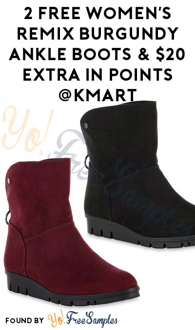 2 FREE Basic Editions Women's Remix Burgundy Ankle Boot & $20 Extra In Points After In-Store Pick Up & Kmart Cashback