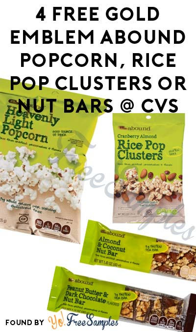 4 FREE Gold Emblem Abound Popcorn, Rice Pop Clusters or Nut Bars