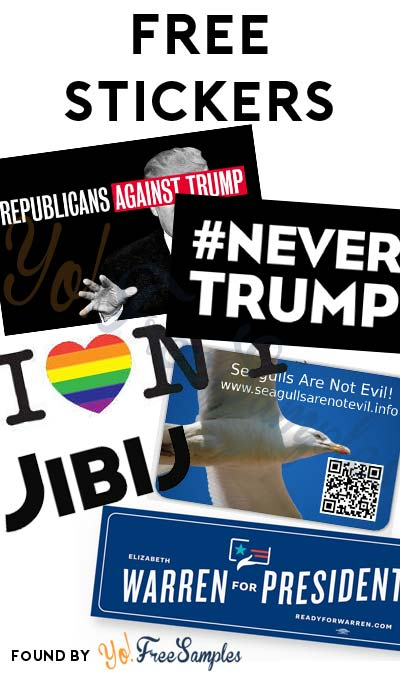 6 FREE Stickers Today: Various Liberal/Ex-GOP Stickers, Republicans Against Trump Sticker, LGBT I Love New York Sticker, Seagulls Are Not Evil Sticker, JIBIJ Sticker & Elizabeth Warren For President Bumper Sticker