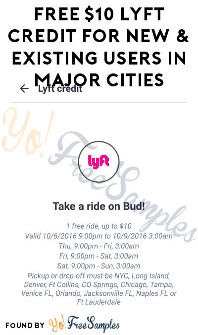 FREE $10 Lyft Credit For New & Existing Users In Major Cities This