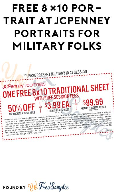 FREE 8×10 Portrait at JCPenney Portraits For Military Folks