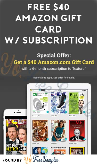 FREE $40 Amazon Gift Card With Texture Magazine Subscription