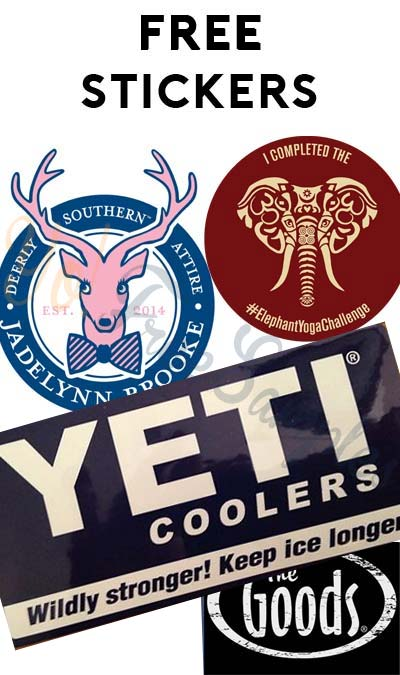 "4 FREE Stickers Today: YETI, Elephant Yoga Challenge Sticker, Jadelynn Brooke ""Happy"" Stickers & The Goods Inc Stickers"