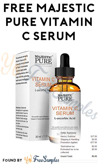 Back In Limited Stock: FREE Majestic Pure Vitamin C Serum L-ascorbic Acid On Amazon (Free Shipping With Prime)