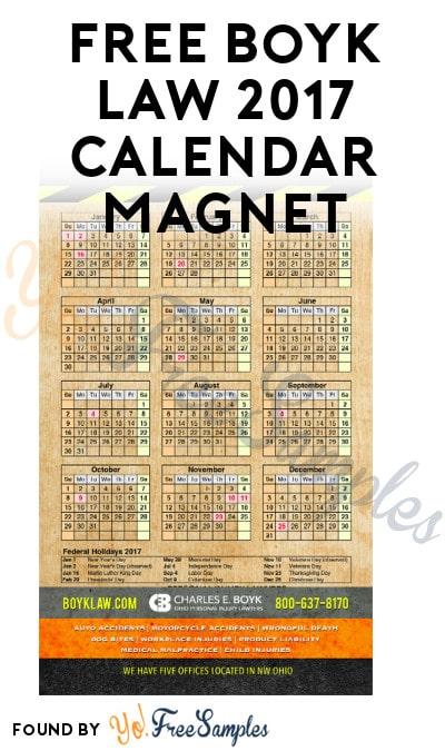FREE Boyk Law 2017 Calendar Magnet