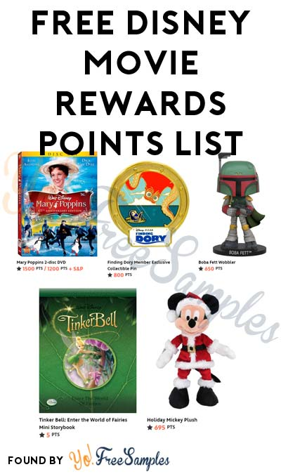 10 Points Added: FREE Disney Movie Rewards Points List