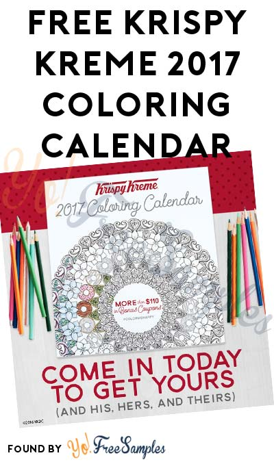 Possible FREE Krispy Kreme 2017 Coloring Calendar (In-Store Only)
