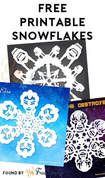 FREE Printable Star Wars, Frozen Princess, Harry Potter & Guardians Of The Galaxy Snowflakes