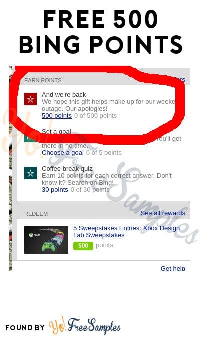 FREE 500 Bing Points