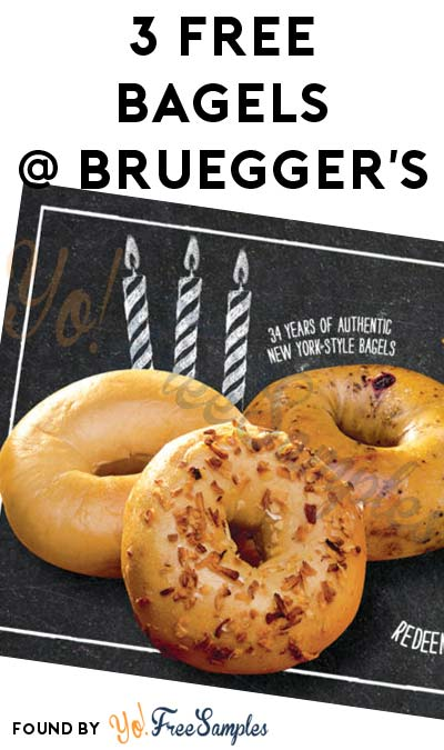 3 FREE Bruegger's Bagels With Purchase On Jan 31st Until 11AM