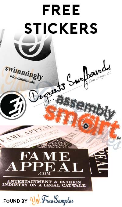 4 FREE Stickers Today: Assembly Smart Sticker, Degree 33 Surfboards Sticker, Fame Appeal Stickers & Swimming.ly Stickers