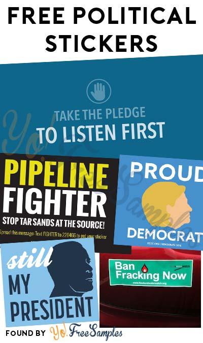 5 FREE Political Stickers Today: Listen First Sticker, Pipeline Fighter Sticker, Still My President Sticker, Proud Democrat Sticker & Ban Fracking Sticker