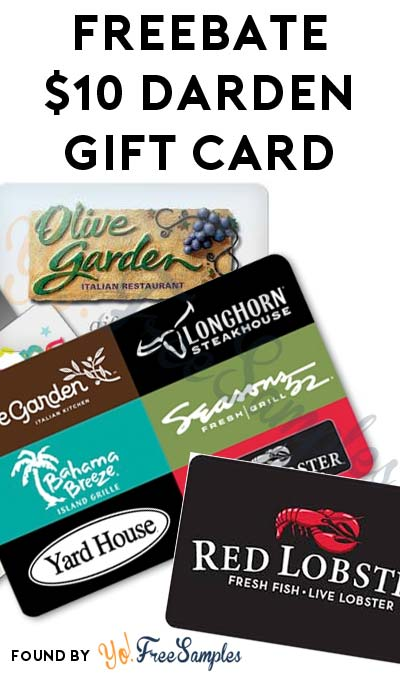 Ends today freebate 10 olive garden bahama breeze or - Olive garden gift card at red lobster ...
