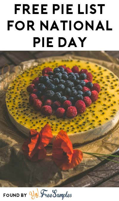 FREE Pie List For National Pie Day 2017