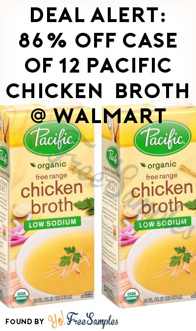 DEAL ALERT: 86% OFF Case Of 12 Pacific Organic Free Range Chicken Low Sodium Broth At Walmart ($9.65 Total)