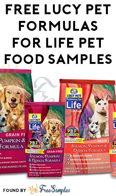 FREE Lucy Pet Formulas For Life Pet Food Samples