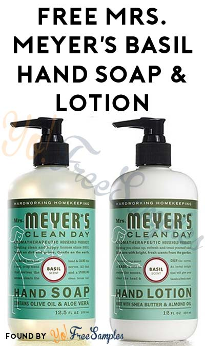 Closing Soon: FREE Mrs. Meyer's Basil Hand Soap & Lotion From CrowdTap For Completing Mission