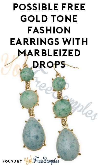 Possible FREE Gold Tone Fashion Earrings With Marbleized Drops