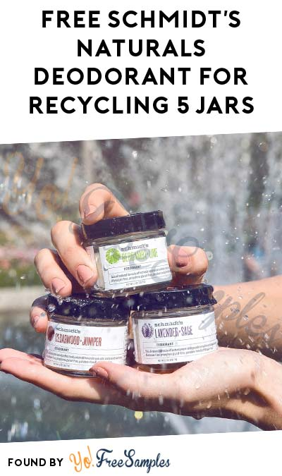Possible FREE Schmidt's Naturals Deodorant For Recycling 5 Glass Jars