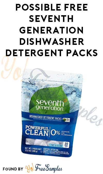 Possible FREE Seventh Generation Dishwasher Detergent Packs (Account Required)