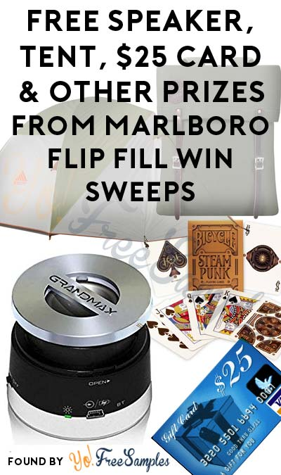 Enter Daily: Win FREE Grandmax Bluetooth Speaker, Kelty Tent, Duluth Utility Pack, $25 Reward Card & Playing Cards Instantly From Marlboro Flip Fill Win Sweepstakes
