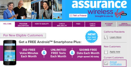 LifeLine government assisted free phone plan