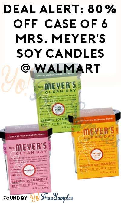 DEAL ALERT: 80% OFF Case Of 6 Mrs. Meyer's Soy Candles At Walmart