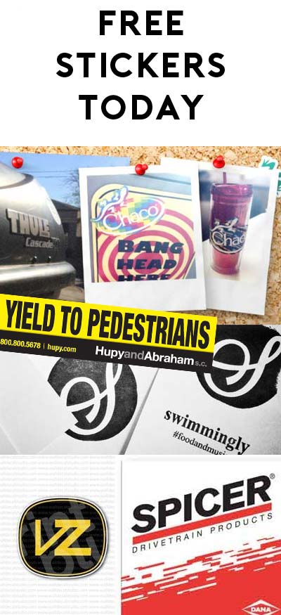 "5 FREE Stickers Today: Spicer Parts Magic Sticker, VonZipper Stickers, Swimming.ly Stickers, ""Yield to Pedestrians"" Sticker & Chaco Sticker"