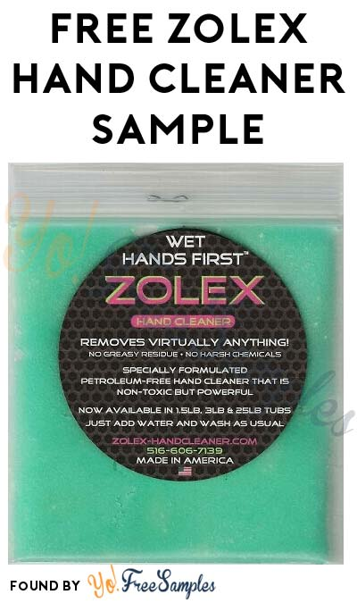 FREE Zolex Hand Cleaner Sample