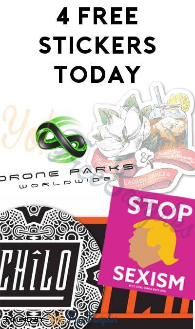 4 FREE Stickers Today: Drone Parks Sticker, Chilo Sticker Packer, Stop Sexism Sticker & Lauren James Sticker