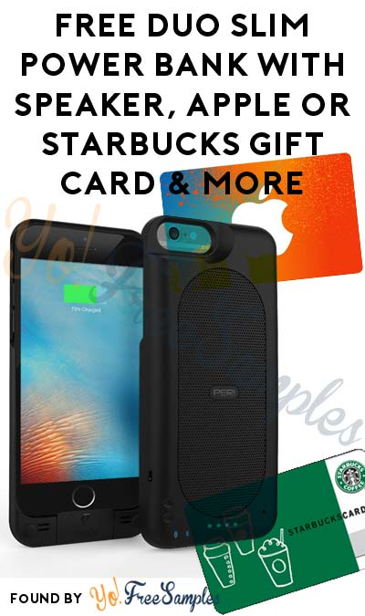 FREE Duo Slim Power Bank With Speaker, Apple or Starbucks Gift Card & More For Referring Friends
