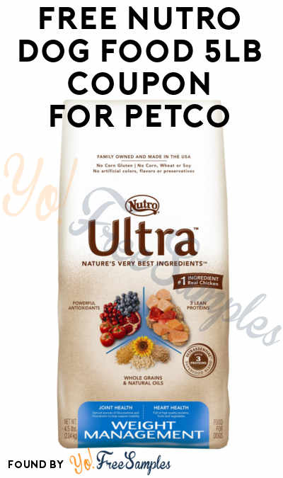 FREE 4/5LB Nutro Dog Food Bag Coupon For Petco Stores
