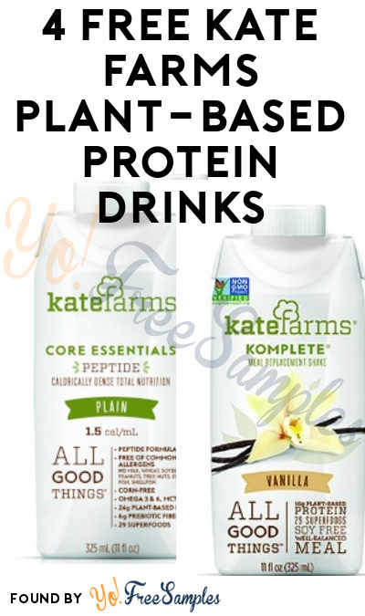 4 FREE Kate Farms Plant-Based Protein Drinks (Healthcare Professionals Only)
