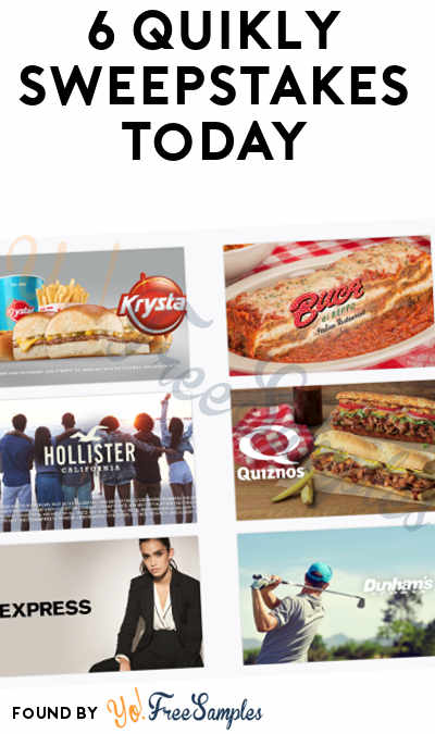 6 Quikly Sweepstakes Today: Win Prizes For Express, Krystal, Buca di Beppo, Hollister, Quiznos & Dunham's Sports (Mobile Number Required)