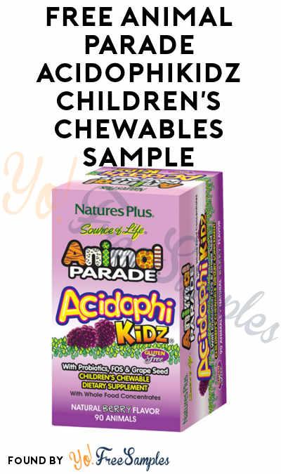 FREE Animal Parade AcidophiKidz Children's Chewables Sample