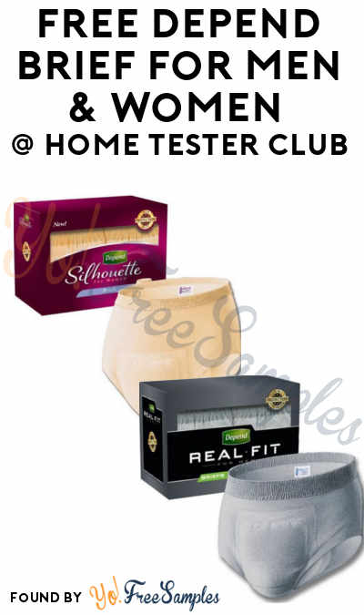 FREE Depend Brief For Men & Women From Home Tester Club (Survey Required)