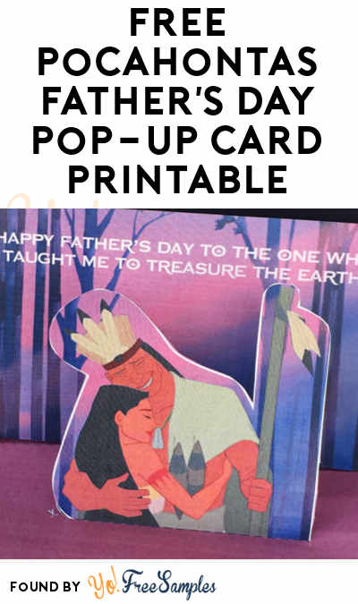 FREE Pocahontas Father's Day Pop-Up Card Printable