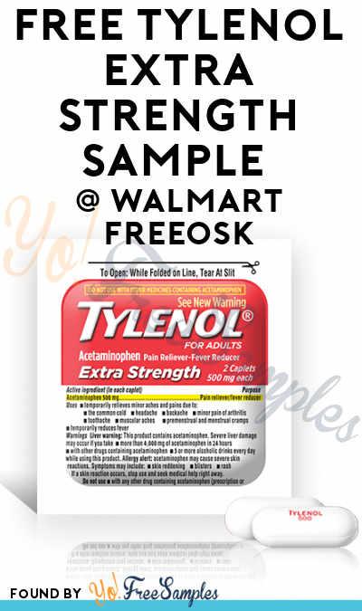 FREE Tylenol Extra Strength Sample At Walmart Freeosk