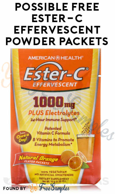 Possible FREE Ester-C Effervescent Powder Packets (Smiley360) [Verified Received By Mail]