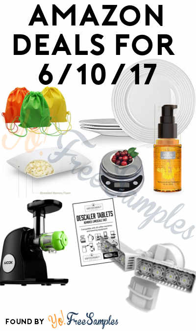 DEALS ALERT: 4 YHY Porcelain Plates, 3 Drawstring Bags, Moroccan Hair Oil, Foam Pillow, Scale, Juicer, Descaler Tablets & Security Light For Amazon 6/10/2017