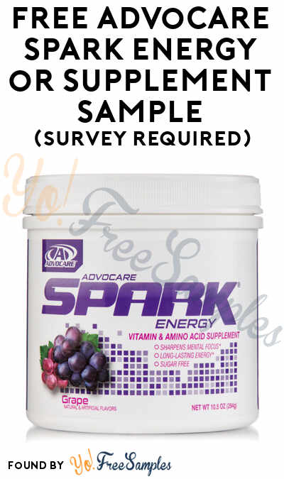 FREE AdvoCare Spark Energy or Supplement Sample (Survey Required)