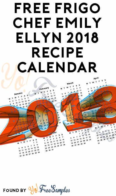 FREE Frigo Chef Emily Ellyn 2018 Recipe Calendar