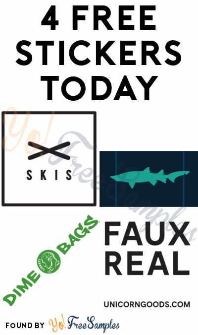 4 FREE Stickers Today: Blue York Shark Sticker, Unicorn Goods Sticker, Dime Bags Stickers & Revision Skis Stickers