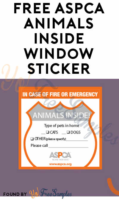 FREE ASPCA Animals Inside Window Sticker