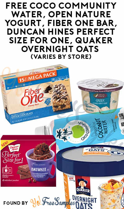 FREE Coco Community Water, Open Nature Yogurt, Fiber One Bar, Duncan Hines Perfect Size For One, Quaker Overnight Oats (Varies By Store) At Jewel-Osco, Shaws, Star Market or Acme Markets