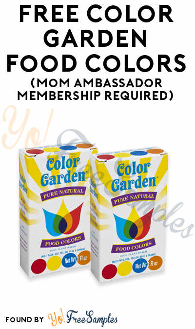 FREE Color Garden Food Colors (Mom Ambassador Membership Required)