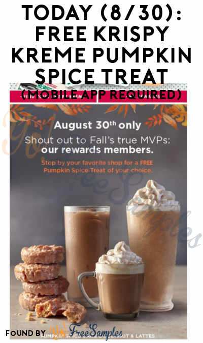 TODAY (8/30): Possible FREE Krispy Kreme Pumpkin Spice Treat (Mobile App Required)