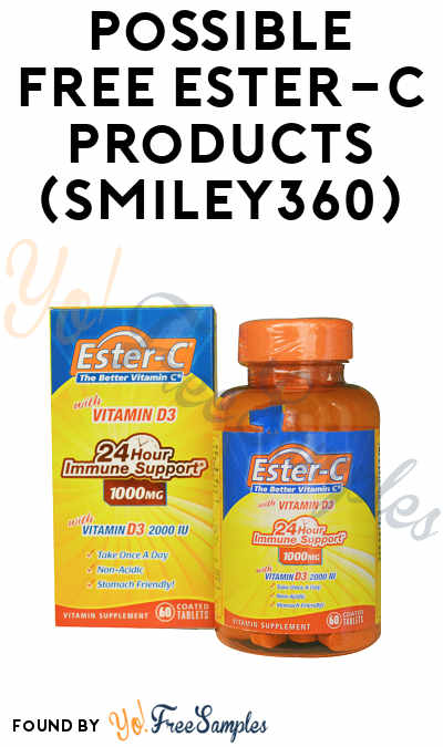 New 7-Day Product Trial, Check Accounts! Possible FREE Ester-C Products (Smiley360)