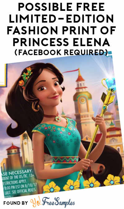 Possible FREE Limited-Edition Fashion Print of Princess Elena (Facebook Required)